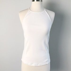 Free People Tank Criss-cross White Ribbed Size L